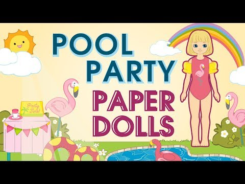 Paper Dolls | Pool Party Dolls & Accessories DIY Crafts