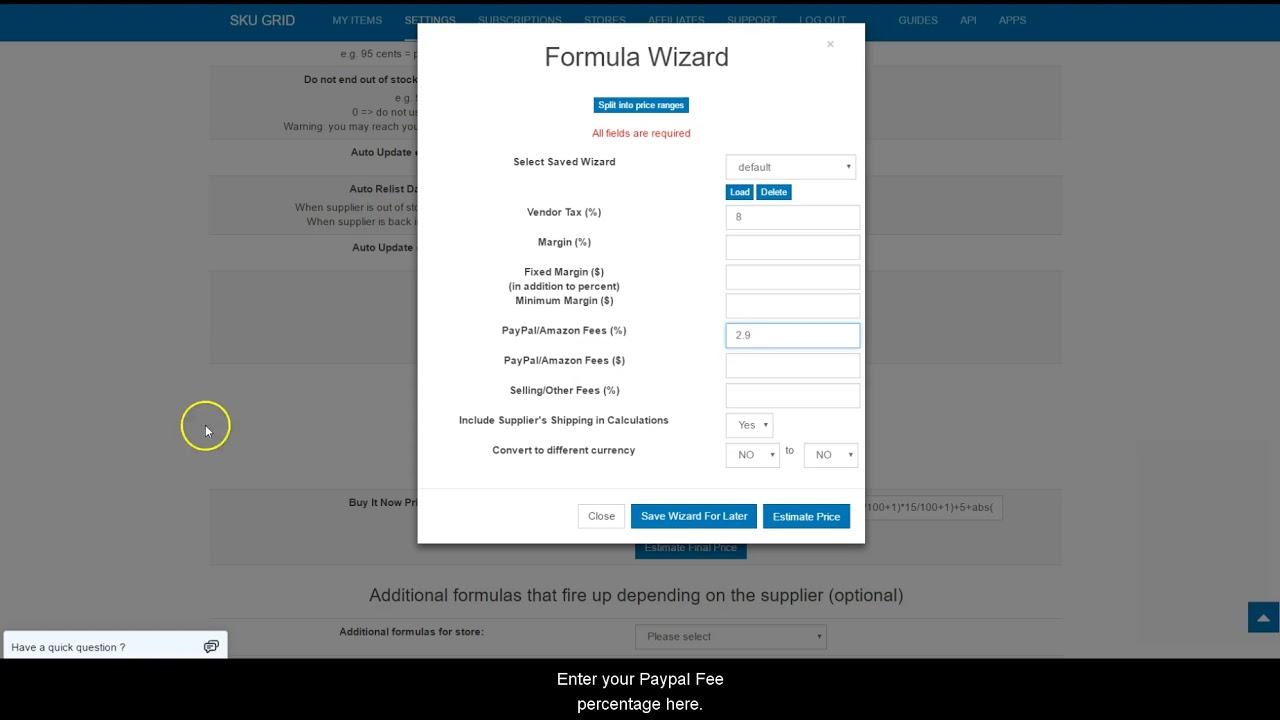 Sku Grid for eBay Sellers - How to Set Up Your Default Selling Price  Formula (Margin %)