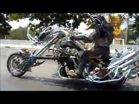 Predator Ride On a Motorcycle