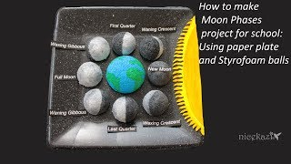 How to make Moon Phases project for school: Using paper plate and Styrofoam balls