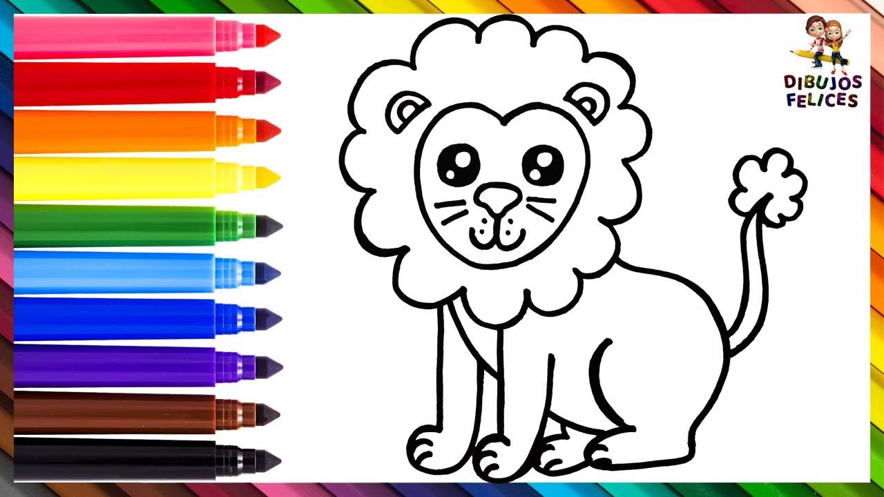 Cómo Dibujar Un Leon 🦁 Dibuja y Colorea Un Lindo Leon Arcoiris 🌈 Dibujos Para Niños