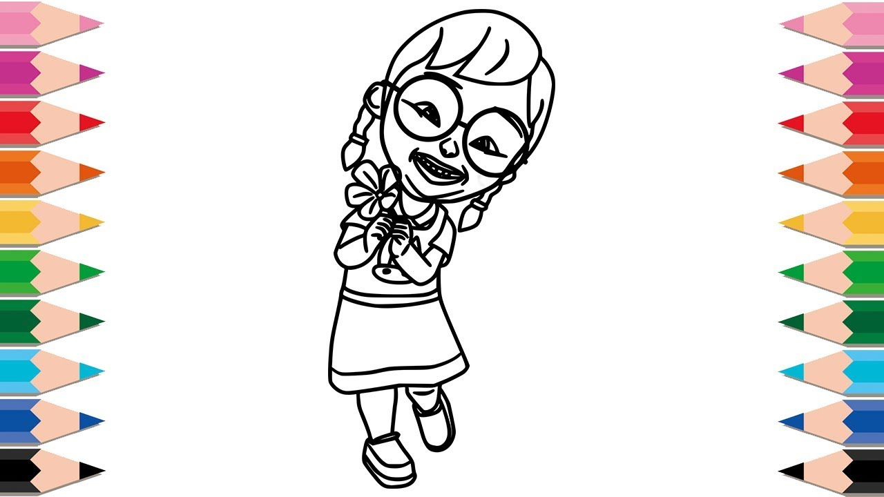 How to Draw Mei Mei Coloring Pages for Kids Learning Colors with Upin Ipin Video for Children