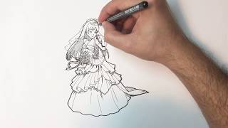 how to draw wedding bride dress for kids