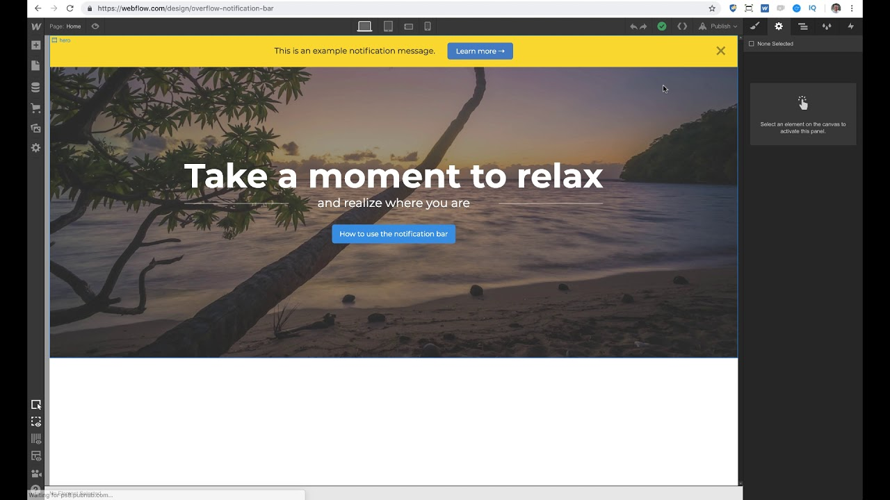 Creating a Notification bar in Webflow | Tutorial