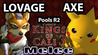 KoC3 - Axe (PIkachu) Vs. Lovage (Fox) 0SSBM Sinlges Pools R2 - Super Smash Bros. Melee