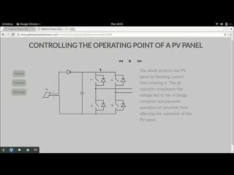 Changing the operating point of a PV panel