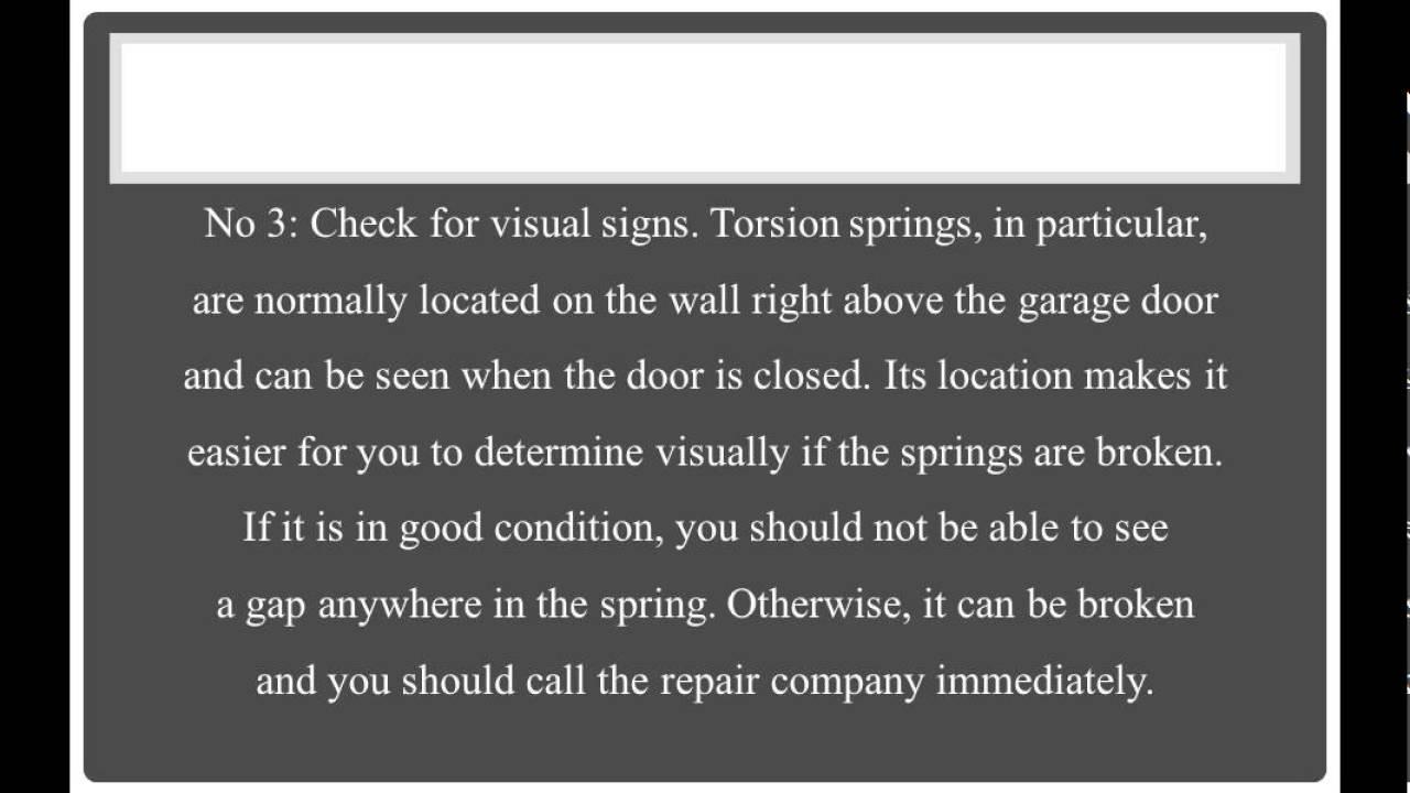 4 Signs If Your Garage Door Has A Broken Spring Youtube