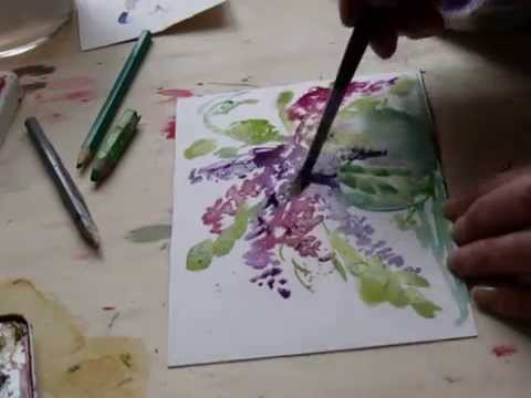 watercolor painting mit lisy flieder in vase youtube. Black Bedroom Furniture Sets. Home Design Ideas