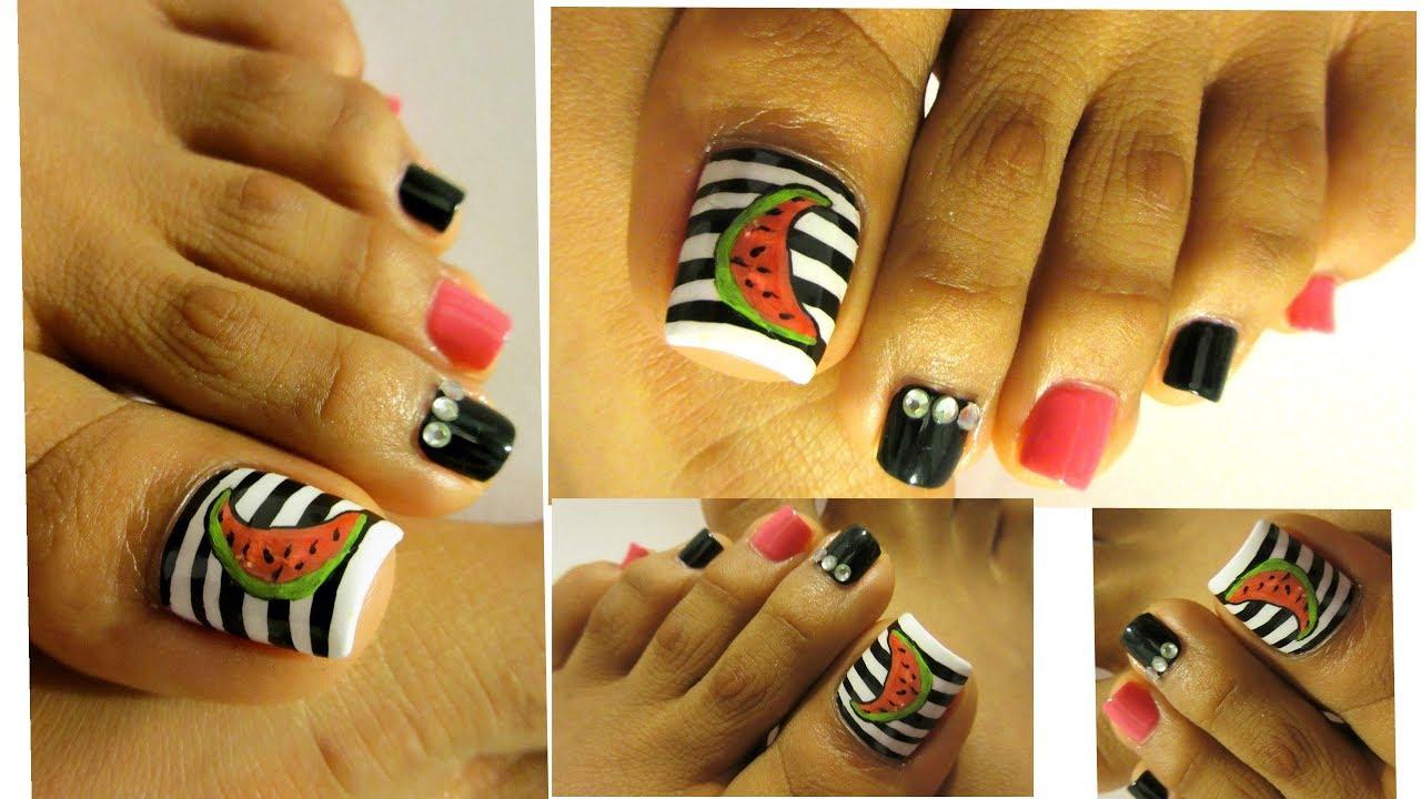 Diseño de Verano uñas decoradas de los pies/Summer design ...