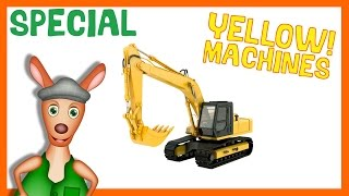 TOP 10 YELLOW MACHINES | Videos made for kids. Diggers, Taxis, Backhoe Loaders, School Bus and more.