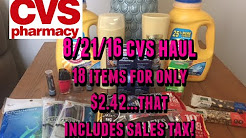 8/21/16 CVS Couponing Haul...only $2.42  for 18 Items!!!!