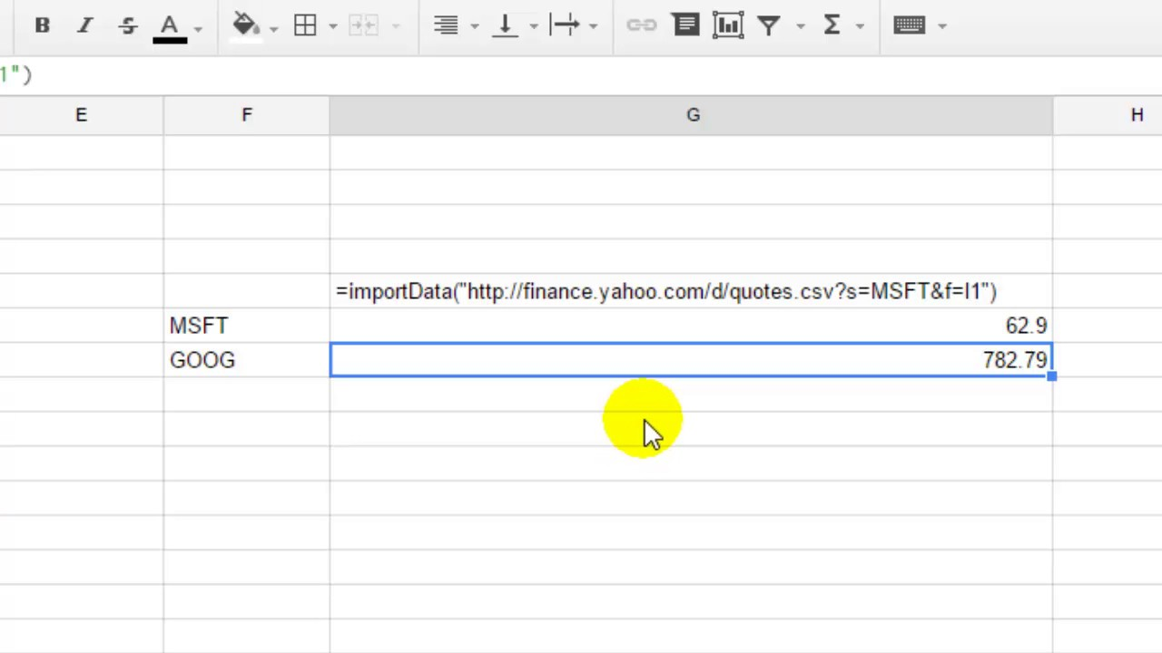 How To Get Yahoo Finance Quotes In Google Spreadsheet Youtube