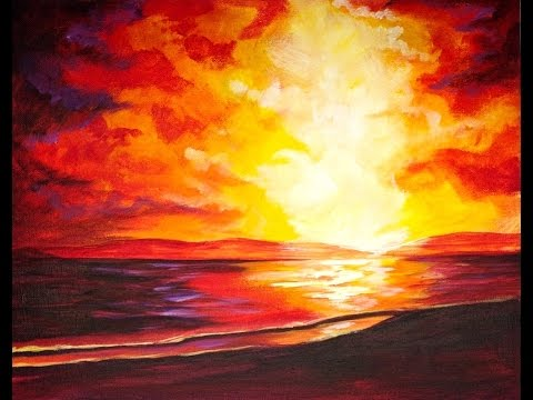 Sunset At The BEACH Beginners Acrylic Step By