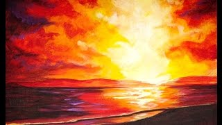 Sunset  at the BEACH Beginners Acrylic Step by step