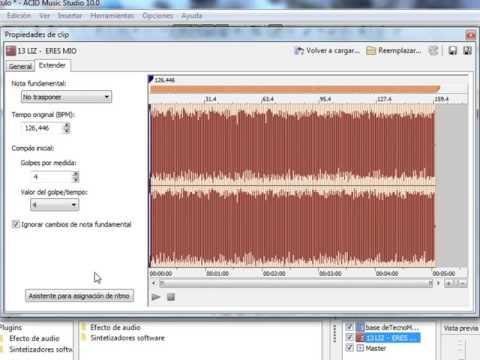 Como sacar una base de una musica y poner en otra en ACID Music Studio 10 0