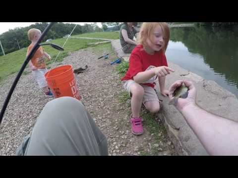 Kids fishing at Wyandotte County Lake, KS