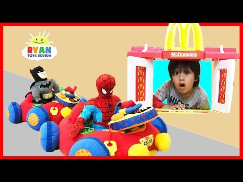 Thumbnail: McDonald's Drive Thru Pretend Play Food Toys for Kids w/ Spiderman Ride On Cars Happy Meal Surprise
