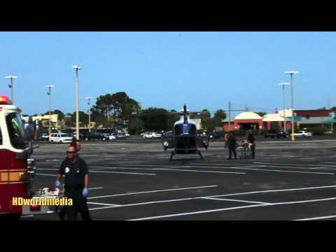 RAW footage - SHOOTING , Trauma One helicopters in Atlantic Beach supermarket parking lot