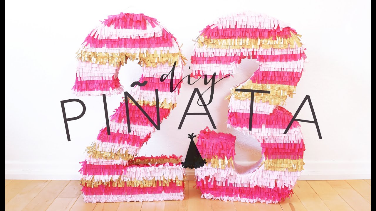 Diy birthday number pinata the sorry girls youtube for Number 4 decorations