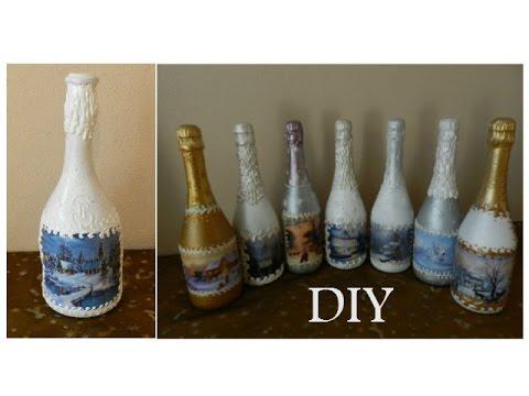 украшение бутылок своими руками