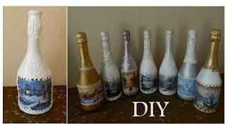 видео Декупаж бутылки шампанского своими руками на Новый год