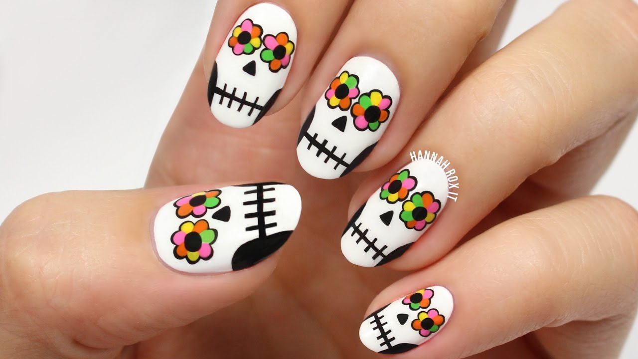Day of the Dead Sugar Skull Nails - YouTube
