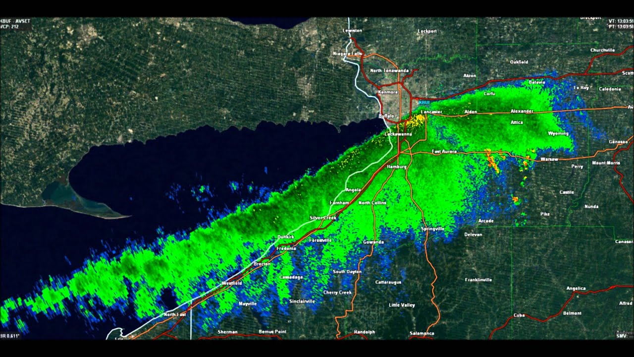 31 hour radar loop - buffalo new york lake-effect snow 11  17-11  18  14