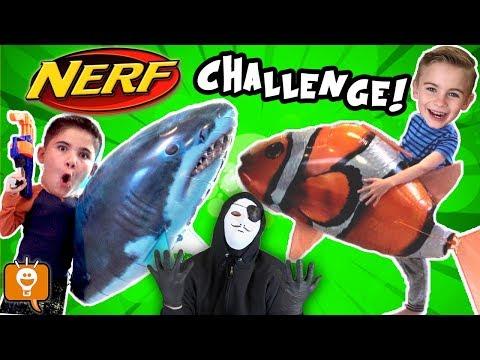 NERF Blaster Balloon DARTS to Find CLUE! Game Trixster Challenge by HobbyKidsTV