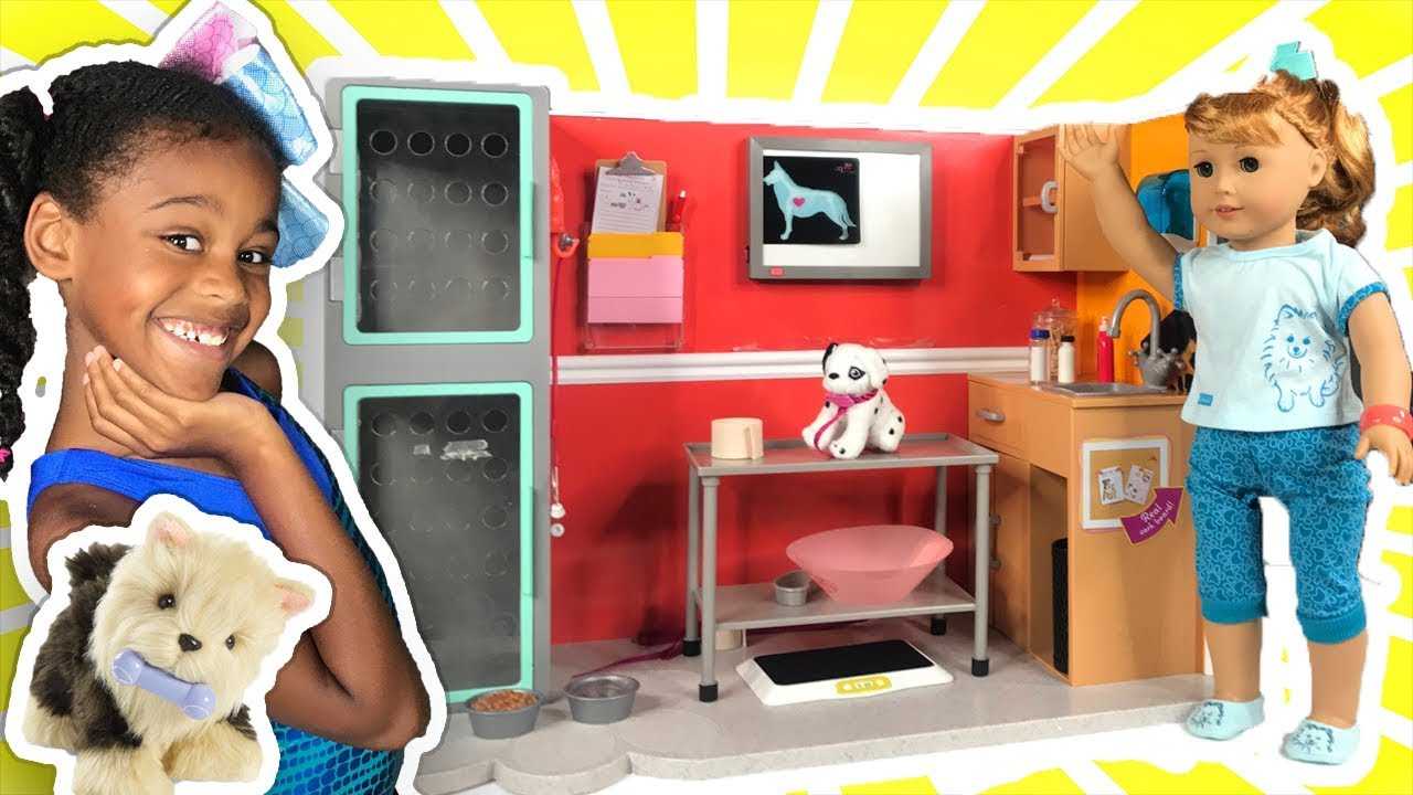 american girl baby doll play veterinarian youtube. Black Bedroom Furniture Sets. Home Design Ideas