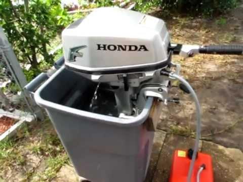 2004 honda 5hp 4 stroke tiller outboard motor youtube for Honda 2 5 hp outboard motor