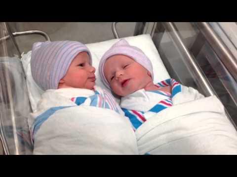 Newborn one hour old twins have first conversation