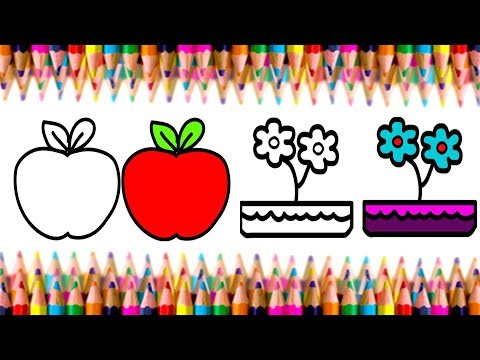 How To Draw Apple And Flower Apple And Flower Color Learn Coloring Kids Are Awesome Ep 12 Youtube