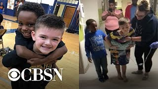 Second grader helps friend relearn how to walk after car accident