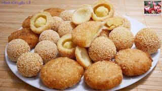 BÁNH CAM / BÁNH RÁN LÚC LẮC - Cách làm Bánh Cam và Bánh rán Mè nhân Đậu, Dừa by Vanh Khuyen