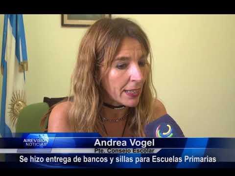 Andrea Vogel  Se hizo entrega de mesas y sillas a escuelas primarias