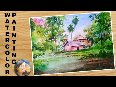 Watercolor Landscape Painting for Beginners Tutorial | Landscape Painting | Isra Artwork