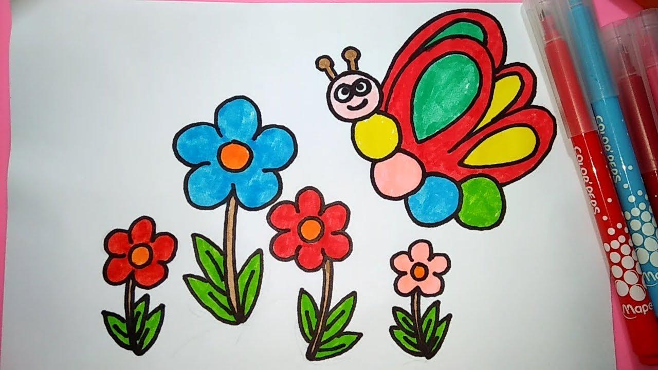 Cara Menggambar Dan Mewarnai Kupu Kupu Dan Bunga Youtube