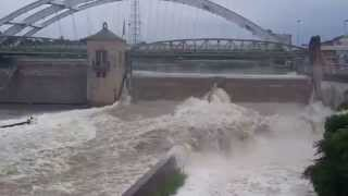 Genesee River in Rochester, NY after flooding rains July, 28th 2014