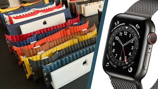 See how the New Series 6 Graphite Steel AppleWatch looks with over 20 watchbands.