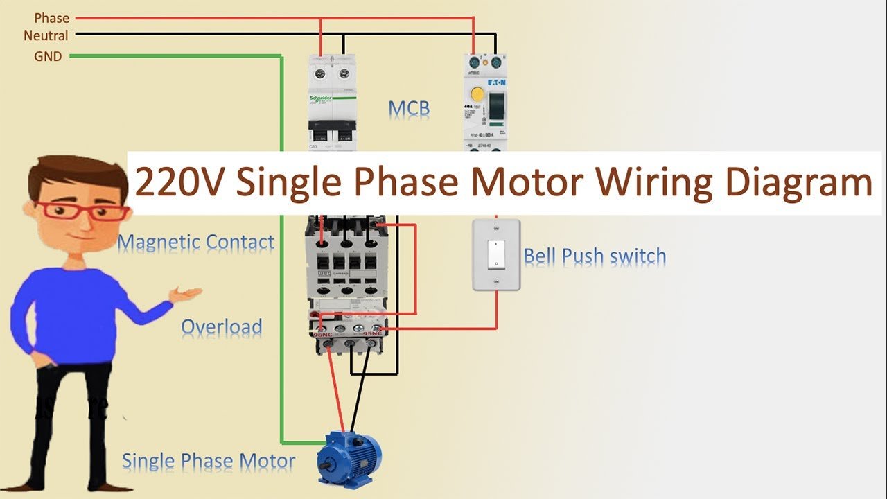 220V Single Phase Motor Wiring Diagram | Single motor connection | Motor  Connection - YouTubeYouTube