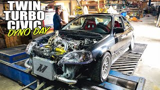 homepage tile video photo for World's First Twin-Turbo D16 Civic HITS THE DYNO! (but......)