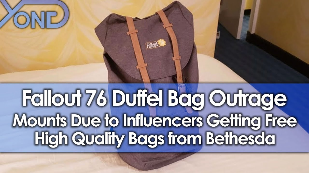 5b816763555 Fallout 76 Duffel Bag Outrage Mounts Due to Influencers Getting Free High  Quality Bags from Bethesda - YouTube