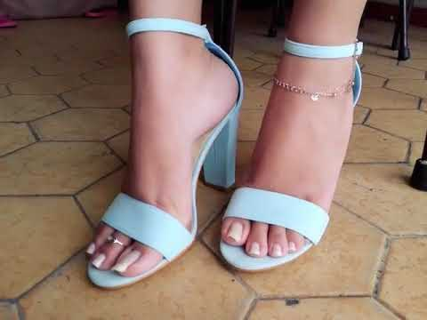 Most beautiful long toe anklet feet in high heels