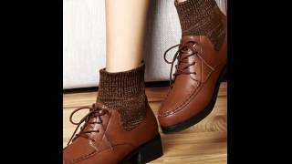 Knitted lace fashion white collar women's boots.avi
