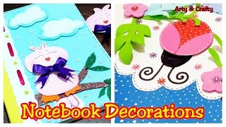 DIY 2 Notebook Cover Decoration | Book Cover Decoration Ideas | Project File Cover Design For School