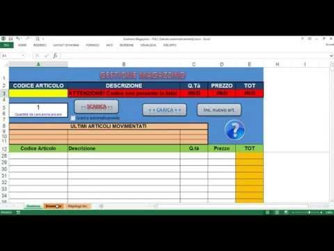 Tutorial Gestione Magazzino Excel Youtube
