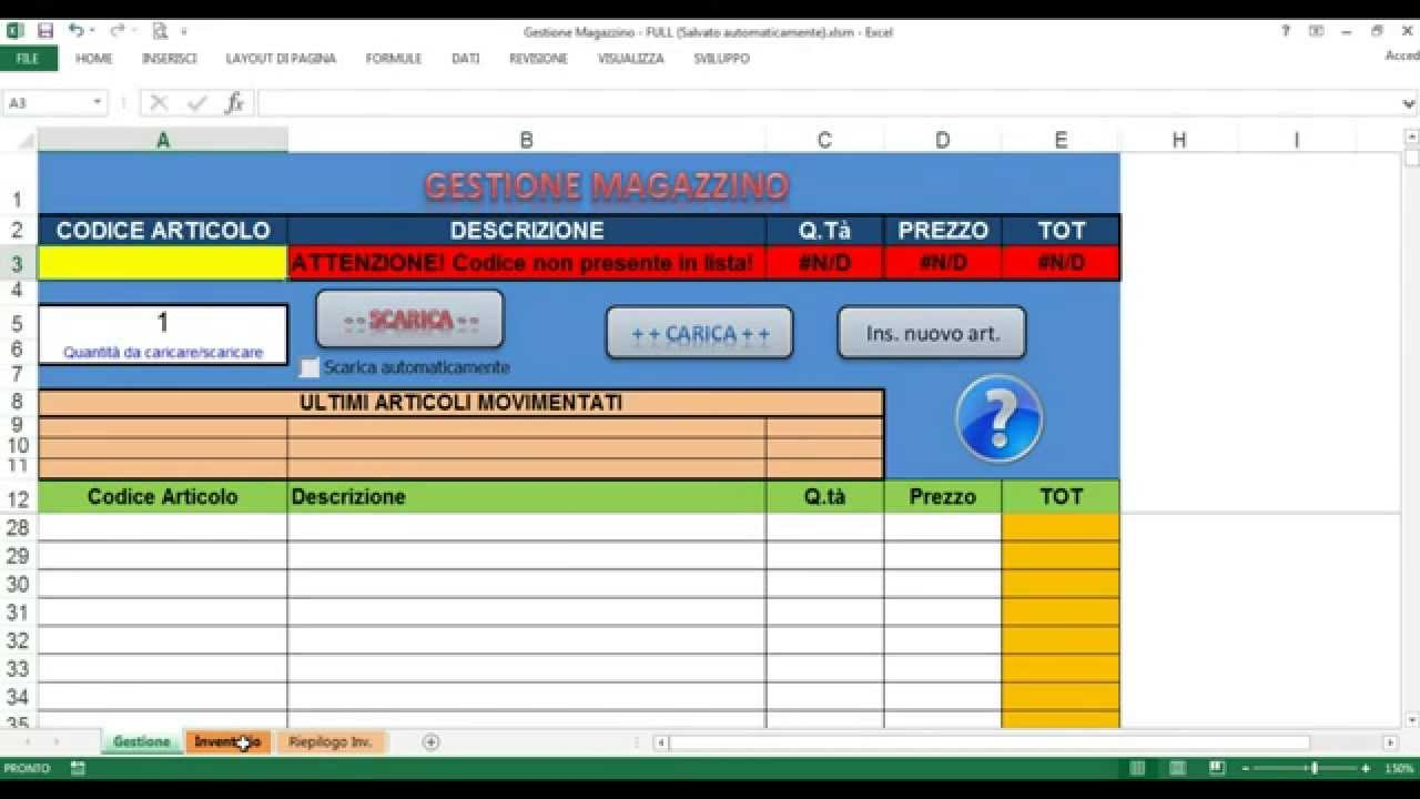 Gestione Magazzino Farmaci.Tutorial Gestione Magazzino Excel