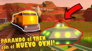 STOPPING THE TRAIN WITH THE NEW UFO IN JAILBREAK ! Roblox