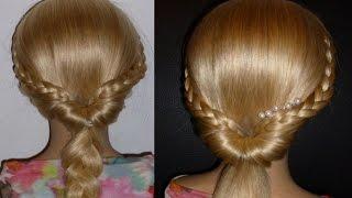 Быстрая причёска самой себе с плетением косичек на средние/длинные волосы.Причёски в школу