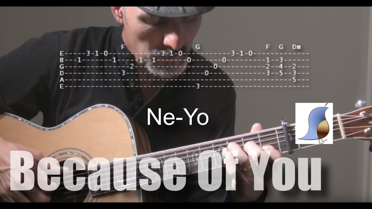 Ne Yo Because Of You Guitar Lesson Youtube